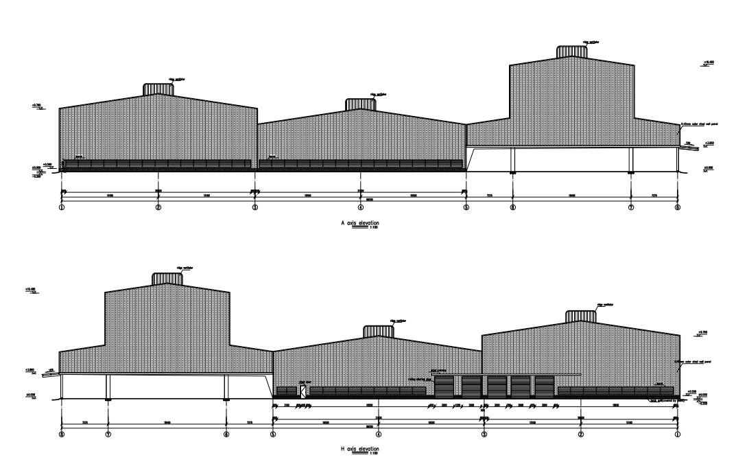 steel structure coffee building structure chart and dimensions